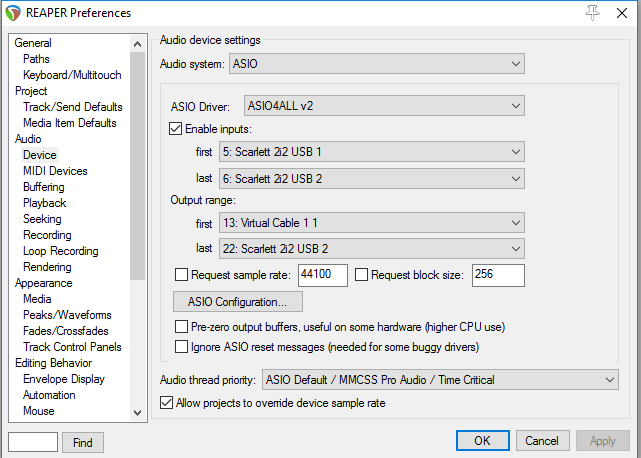 audio device setup